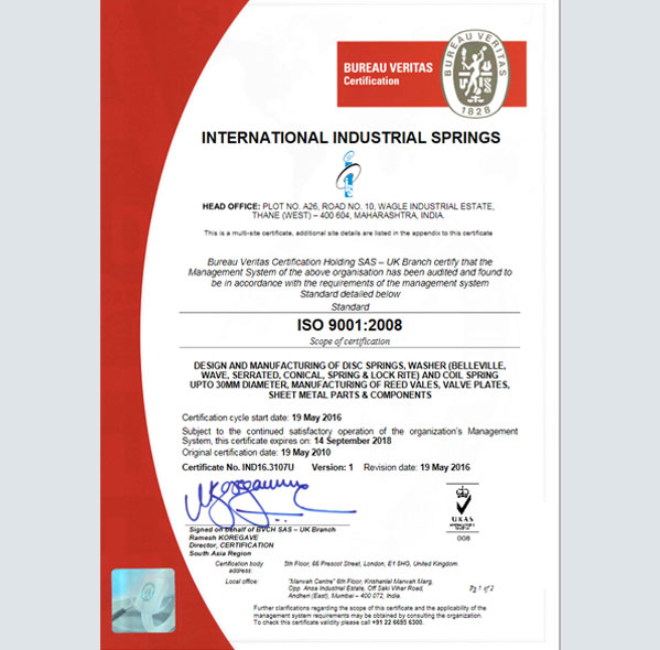 ISO Certification, Industrial Washers, Disc Spring, Mumbai, India